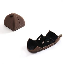 Small Size Suede Jewelry Box for Earings/Ring (Brown)