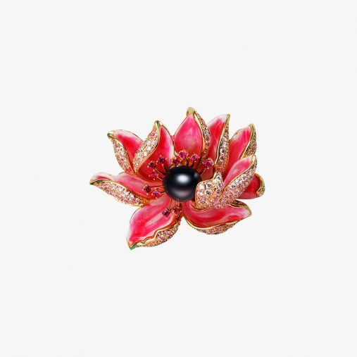 Red Lotus Tahitian Black Pearl Brooch