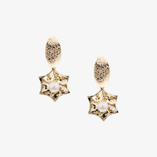 Hexagon Pearl Earrings