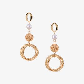 Round Nest Pearl Drop Earrings