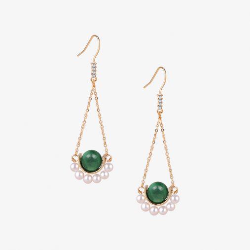 Jadeite Peral Dangle Earrings