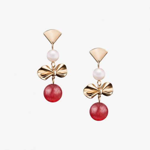14K Gold Bow Pearl Earrings