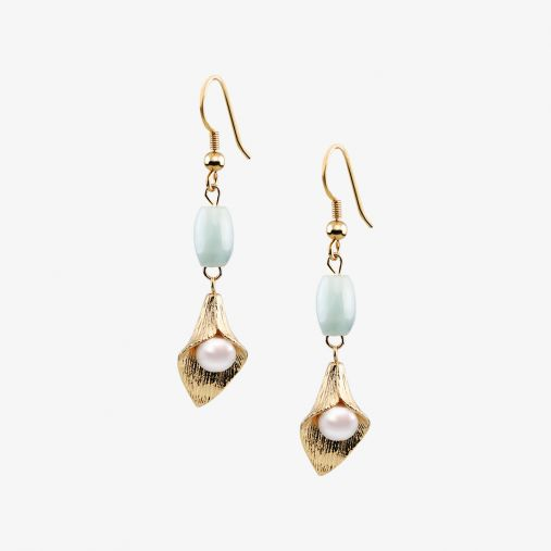 Morning Glory Drop Pearl Earrings