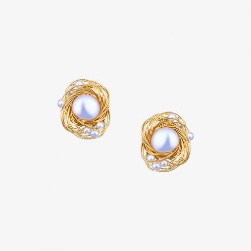 Bird Nest Pearl Earrings
